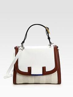 fendi pequin silvana raffia + leather bag
