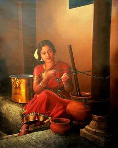 South Indian ~ S. based in Tamil Nadu State) --? Indian Women Painting, Indian Art Paintings, Indian Artist, Indian Artwork, Om Namah Shivaya, Traditional Paintings, Traditional Art, Indian Drawing, Indian Village