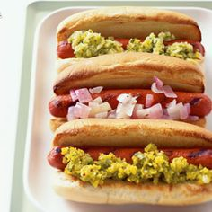 Hot Dog Relishes  Three-Pickle Relish: Half-sour, kosher dill, and sweet gherkin pickles are the main players in this relish. A gentle hint of acidity makes flavors pop.  Mustard Relish with Turmeric: This relish is a zippy, easy variation of its three-pickle sister.  Red and White Onion Relish: Red and white onions simmer with vinegar, sugar, and aromatic cumin seeds to create a tangy-sweet alternative to traditional pickle relishes.