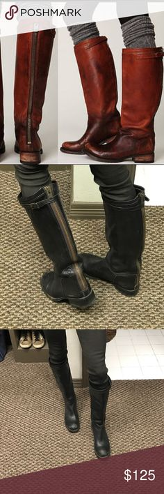 ❤️❤️ ASH Destroyer Tall Boots ❤️❤️ These are amazing and so comfy!! All scuffs and markings are intentional and the boots came that way to give them a vintage look. Soft black leather and zipper back. Slip on easily and goes well with leggings or a dress. Ash Shoes Combat & Moto Boots