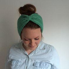 Knitted Hair Accessory    Ear Warmer    Knit Turban Headband    Mint Green    REBEKKA TURBAN