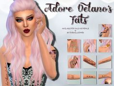 Sims 4 CC's - The Best: Adore Delano's Tattoos by OverkillSimmer Danny Noriega, Sims 4 Tattoos, The Sims 4 Skin, Maxis, Sims Packs, Tattoos For Women, Female Tattoos, Adore Delano, Female Vampire