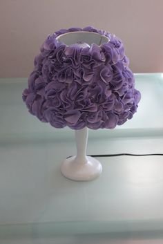 Pom Pom DIY lamp for girls bedroom. Pottery barn $165.00 Made one for my grand daughter, using a ginger jar style lamp. Beautiful!! Now her sister wants one!