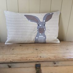 Hare cushion quirky characterful free by Coastingthecotswolds Country Cushions, Applique, Soft Furnishings, Hare, Throw Pillows, Projects, Inspiration, Design, Biblical Inspiration