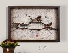 wooden birds on branches with vintage postcard background shadow box