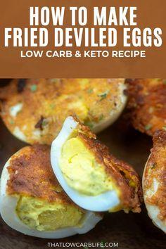 Sugar Free Recipes, Egg Recipes, Lunch Recipes, Low Carb Recipes, Healthy Recipes, Fried Deviled Eggs, Deviled Eggs Recipe, Eggs Low Carb, Twisted Recipes