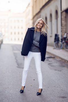 white jeans + grey sweater + navy coat