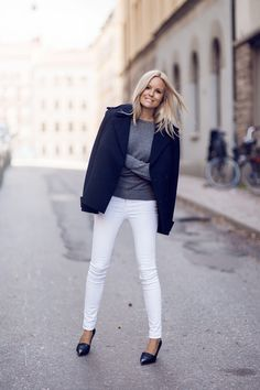 white jeans + grey sweater + navy coat