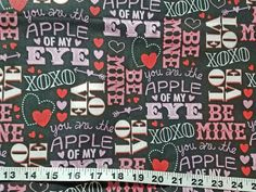 Valentine's Day fabric apple of my eye hugs and kisses heart love be mine cotton print quilt sewing project quilter material bty by the yard by ConniesQuiltFabrics from ConniesQuiltFabric. Find it now at http://ift.tt/2iXbEgR! http://ift.tt/24HwgZX.
