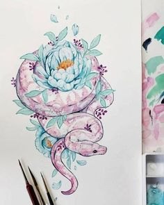 200 images of female arm tattoos for inspiration - photos and tattoos .- 200 images of female arm tattoos for inspiration – photos and tattoos – Flower tattoo designs – different colors but yes – Art And Illustration, Kunst Tattoos, Tattoo Drawings, Art Drawings, Drawings Of Snakes, Sketch Tattoo, Tattoo Art, Flower Drawings, Painting Tattoo