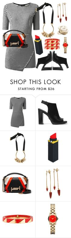 """Houndstooth"" by petalp ❤ liked on Polyvore featuring Michael Kors, Marni, Lulu Guinness, Tod's, Tory Burch, Marc by Marc Jacobs and dress"
