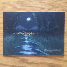 Moonlit Forest River Acrylic Canvas Board Painting RachelElizabethsArt On Etsy Instagram Tumblr Paint Art