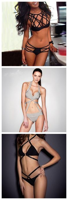 Sexy Bandage Solid Bikini.A sure way to spark your beach holiday!