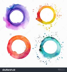 A Set Of Vector Watercolor Textures: Purple, Yellow, Pink, And Teal Blue…