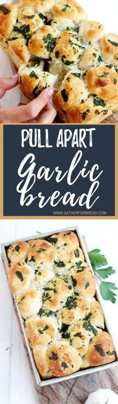 Pull Apart Garlic Bread – Easy and delicious homemade pull apart garlic bread. Made from scratch dough with delicious herbs. Perfect addition to every meal.