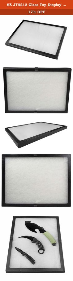 """SE JT9212 Glass Top Display Box with Metal Clips, 16"""" x 12"""" x 0.75"""". SE is proud to present our Glass Top Display Box with Metal Clips, 16"""" x 12"""" x ¾"""". This display box comes with metal clips to securely close the box—a major design improvement over the traditional design, which uses pins to secure the box closed. Our Glass Top Display Box is filled with polyester so your items can have a soft cushion to be placed on, providing an endless number of display possibilities from jewelry, gems..."""