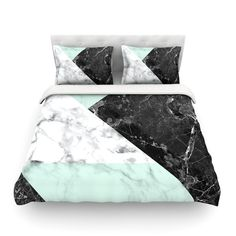 """KESS Original """"Geo Marble and Mint"""" Black Art Deco Featherweight Duvet Cover from KESS InHouse"""