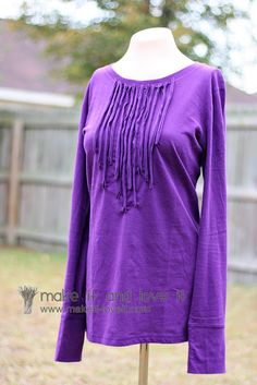 Embellished Tee with Fabric Strips | Make It and Love It  http://www.makeit-loveit.com/2010/11/blog-post.html