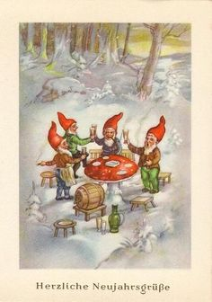 This Pin was discovered by Crystal Takemoto. Discover (and save!) your own Pins … Vintage Christmas Cards, Christmas Images, Vintage Cards, Christmas Gnome, Christmas Crafts, Fairy Land, Fairy Tales, Kobold, Mushroom Art