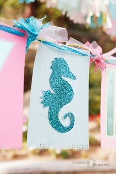 Happy bithday Banner with Seahorse cut out. Made by Keli Wozniak at Seahorse & Stripes