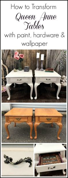 vintage queen anne tables dont have to be boring. See how these painted end tables were transformed with new hardware and removable drawer liners. / just the woods