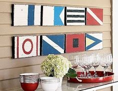 Coastal, Beach + Nautical Decor + Interiors, Driftwood + Shell Decor, Crafts, Art + more Nautical Kitchen, Nautical Wall Art, Nautical Flags, Nautical Home, Nautical Style, Nautical Letters, Nautical Design, Beach Cottage Style, Beach House Decor