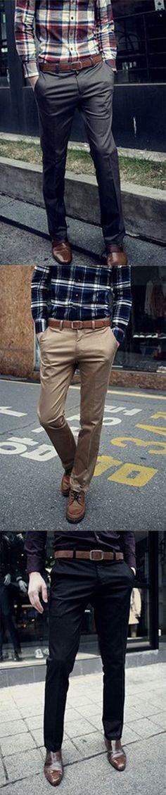 Men's Mid Rise Micro-elastic Suit Business Pants