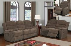 Transitional Vegas Raisin Chenille Textured Fabric Living Room Set