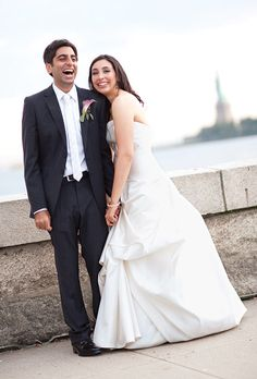 @BRIDES Real Wedding of Dana and Rahul in New York, NY. Ellis Island Wedding #weddingwednesday @evelynhillinc