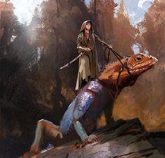 f Druid Cloak Sword Giant Iguana Lizard mixed forest hills wilderness ArtStation - Lizard Riders, John Park High Fantasy, Fantasy Rpg, Medieval Fantasy, Fantasy Inspiration, Character Inspiration, Character Art, Character Concept, Concept Art, Fantasy Creatures