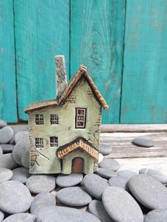 Old French country house - OOAK ceramic porcelain miniature house inch scale via Etsy Clay Houses, Ceramic Houses, Miniature Houses, Ceramic Clay, Clay Fairy House, Fairy Garden Houses, Shell House, Pottery Houses, Hand Built Pottery