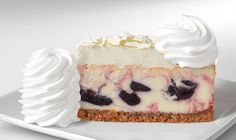Wild Blueberry White Chocolate Cheesecake: Original Cheesecake Swirled with Wild Blueberries. Topped with White Chocolate Mousse.