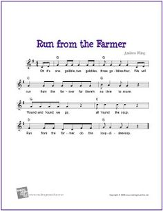 Run from the Farmer | Free Sheet Music (Music, Lyrics and Chords)
