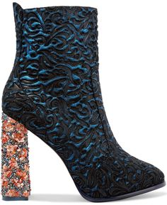 Sophia Webster 'Kendra' Jacquard-Effect Leather and Suede Ankle Boots