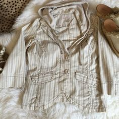 Free People Hooded Spring Jacket Coat Free People Hooded Jacket. Perfect condition. 100% Cotton. Covered buttons. Size S. Soft colored stripes. Free People Jackets & Coats