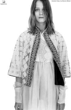 Carmen Kass in Vogue Italia, January 2002