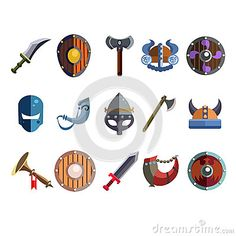 Viking Cartoon Weapon and Equipment. Game icons