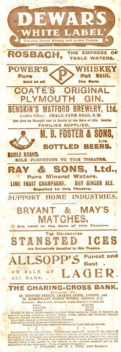 From London in 1907 an advertisement for a range of alcoholic drinks including whiskey, gin and beer.