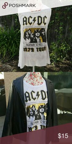 AC DC long sleeveless concert  t-shirt Do you remember this, or do your parents talk about the 1979 AC DC Highway to Hell tour? If so, get this cool t-shirt, NWT. This definitely makes a statement! Tops Muscle Tees