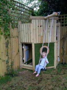 Image result for small wooden climbing frame Garden Playhouse, Build A Playhouse, Playhouse Outdoor, Backyard Play, Backyard Sheds, Small Backyard Landscaping, Outdoor Projects, Garden Projects, Garden Ideas
