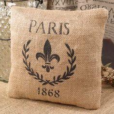 Paris 1868 & Fleur De Lis French Flea Market Small Burlap Accent Throw Pillow - 7-in x 7-in The Country House,http://www.amazon.com/dp/B009SD0HR6/ref=cm_sw_r_pi_dp_1MKSsb1AJT9B9NRW