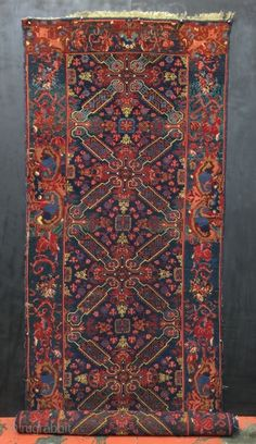 """Late 19th Century Caucasian Kuba Seyhour or Seichour rug. Size 3'10"""" x 14'10"""". Good velvety pile overall with some corrosion of the brown. Excellent natural dyes. Bottom end is not square and ..."""