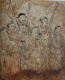 Liao dynasty - Khitan men in tomb painting in Inner Mongolia.