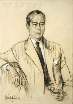 Alejo Vidal Quadras | Retrato del Señor Alfredo Fortabat | 1961 | Carbonilla y pastel sobre papel | 102 x 71,5 cm
