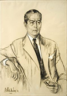 Alejo Vidal Quadras   Retrato del Señor Alfredo Fortabat   1961   Carbonilla y pastel sobre papel   102 x 71,5 cm