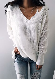 $31.99! Chicnico Street Fashion Knit V Neck Solid Color Loose Sweater Get ready for Fall fashion! Find fashionable outfits for the new