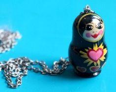 Handmade Russian heart matryoshka necklace