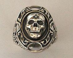 Masonic Skull Ring Silver 925 / Handmade - ALL SIZES !