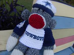 Sock Monkey with team sweater and hat- Dallas Cowboys and many more