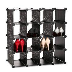 Shoe Rack Cube Storage Stand 16 Shelves Shelf Organizer Grid Home Furniture in Home, Furniture & DIY, Storage Solutions, Shoe Storage   eBay